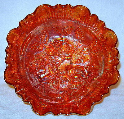 Vintage Imperial Carnival Marigold Luster Rose 3-1 Footed Bowl