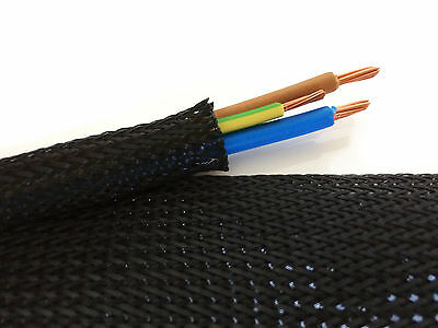 Black Braided Cable Sleeving/Sheathing Wire Harnessing, Marine, Expandable