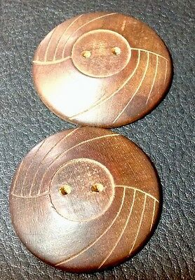 "2 LARGE 1 5/8"" VINTAGE WOOD BUTTONS"
