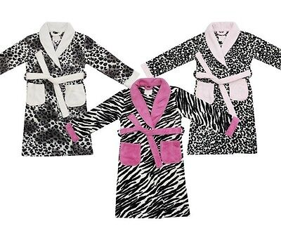 Girls Luxury Fleece Super Soft Dressing Gown Animal Print Designs Ages 2-13 Yrs