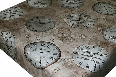 Wipe Clean PVC Tablecloth Oilcloth Vinyl Fabric - Old Vintage Clocks