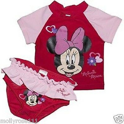 Baby Girl Minnie Mouse 2  Piece Pink & Red  Swimwear Rashie Just Gorgeous