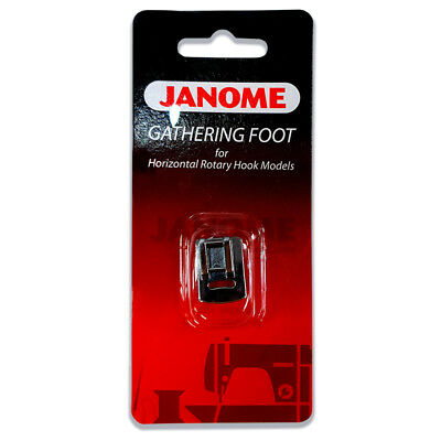 Janome Gathering Foot - Ruffles, heirloom puffing, snap on, clip on, Elna