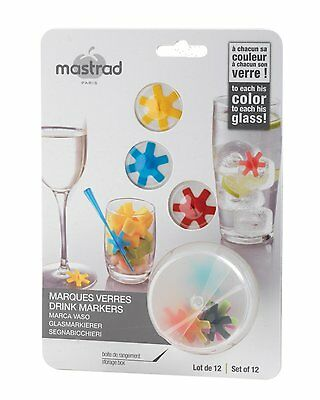 Mastrad Silicone Wine Glass Charms / Drink Markers with Pick Holder - Set of 12