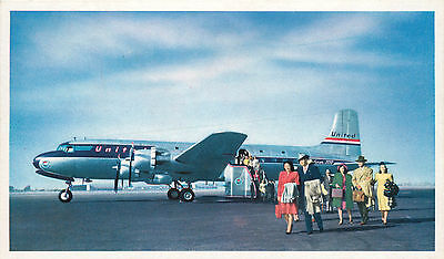 Passengers on the Tarmac ~UNITED~ Great Old Airline Issued Postcard, 1955