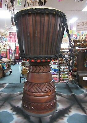 Professional Handcarved Djembe African Style Bongo Drum Mahogany Wood 60cm
