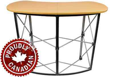Folding Compact Trade Show Display Table W/ Carrying Bag Stand Wood Finish ^(
