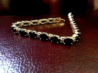 SAPPHIRE GEM BRACELET WITH CREATED DIAMONDS in Yellow Gold Finishing CLASSIC