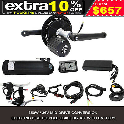 350W Electric Bike Bicycle Conversion Kit eBike mid drive + Lithium Battery