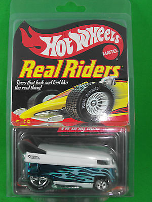 Extremely Rare Series 5 Hot Wheels Real Riders Volkswagen Drag Bus Green/White