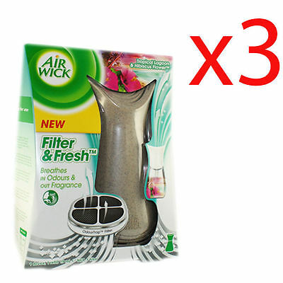3 x 19 ml Air Wick Odour Trap Filter & Fresh Tropical Fragrance Plug In for Home