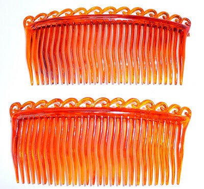 2  Vintage 8.5cm Waved Teeth Tortoiseshell Hair Combs - Good for Fine Hair