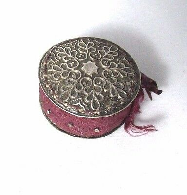 Sterling Silver SNOWFLAKE PIN cushion DISC; ORIGINAL pins & silk,ANTIQUE c1800's