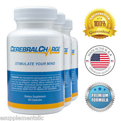 CerebralCharge (3 Pack) - Brain Pills - Enhance Memory, Sharpen Focus