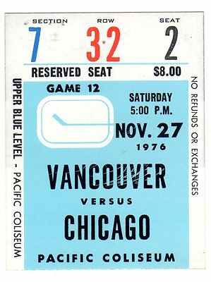 1X VANCOUVER CANUCKS Ticket Stub vs CHICAGO BLACKHAWKS Nov 27th 1976 Blue
