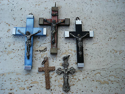 5 ANTIQUE AND VINTAGE CRUCIFIXES CROSSES OF THE OLD WORLD   (4 )