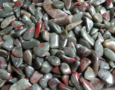 1/4 lb Premium Old Stock Tumbled Bloodstone Heliotrope African about 1 inch Bulk