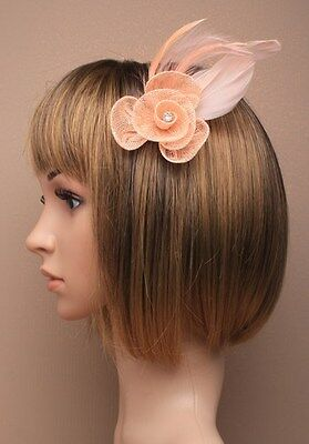Light Peach Puff Feather Fascinator with Flower & Diamante Hair Clip Brooch Pin
