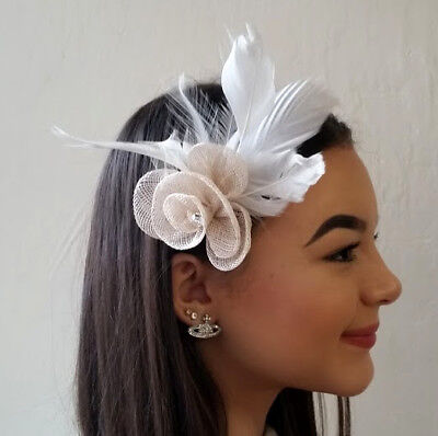 Cream Feather Fascinator with Flower and Diamante Details Hair Clip Brooch Pin