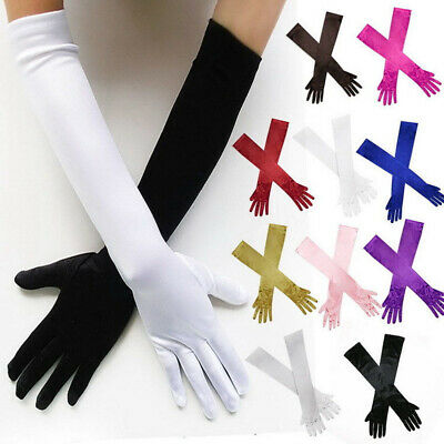 Bridal Prom Long Stretch Satin Wedding Evening Party Elbow-length Gloves US