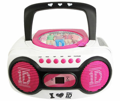 One Direction 1D Portable Cd Boombox Am / Fm Radio + Mp3 Player Aux Input
