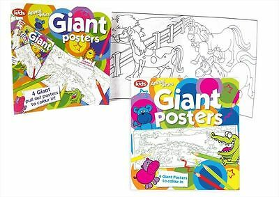 Colouring Book Kids Child Art & Craft Giant Pull Posters 2 Sticker Sheets(fn1026