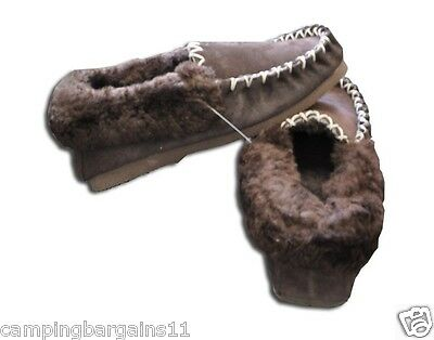 NEW Genuine Unisex AUSTRALIAN SHEEPSKIN Moccasins Slippers CHOCOLATE SIZES 4-12