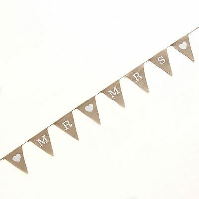 Vintage Affair Mr and Mrs Hessian Bunting Crafted Decorations Party Wedding