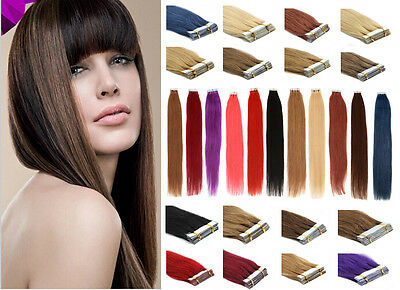 Seamless Tape-In Skin Weft Brazilian Remy Human Hair Extensions16-26Inch20/40Pcs