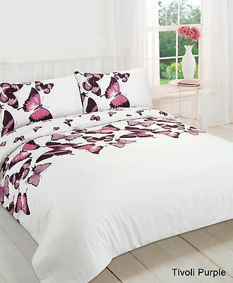 Duvet Cover with Pillow Case Bedding Set Butterfly Purple - Single Double King