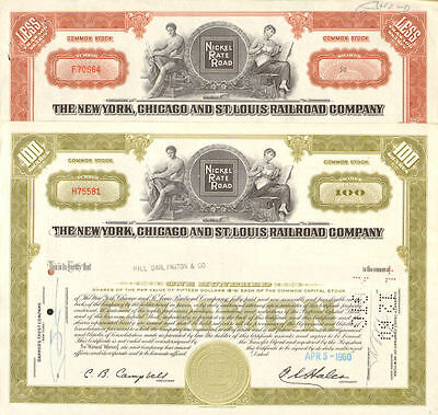 Nickel Plate Road set of 2 New York Chicago St. Louis Railroad stock certificate