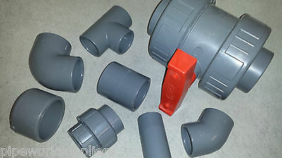 "ABS SOLVENT WELD PIPE FITTING - 3/8"" To 8"" PRESSURE PLASTIC  INDUSTRIAL SWIMMING"