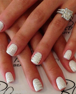 Glitter Silver Gold Lace Stripes 3D Nail Art Stickers Decals Nail Bows Wedding
