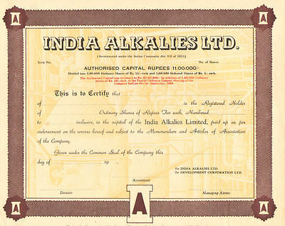 India Alkalies Ltd.   19__ India Rupees stock certificate