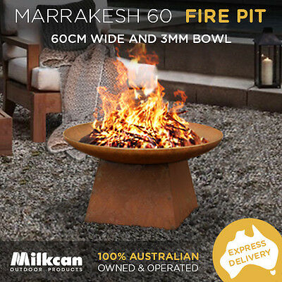 FREE DELIVERY Marrakesh 60cm Rusted Fire Pit Outdoor Open Fireplace Patio Heater