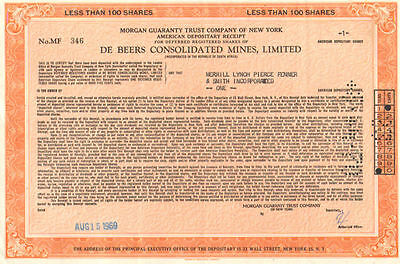 De Beers Consolidated Mines   South Africa 1969 ADR certificate diamond mining