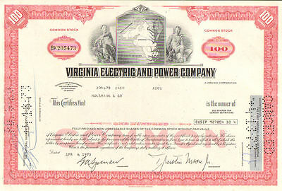 Stock certificate Virginia Electric /& Power Company 1968 State of Virginia