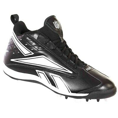 ab2e16a369dc61 REEBOK MEN S NFL Football Thorpe Mid Football Cleats Black White ...