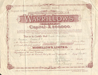 Warrillows Limited > London England 1921 certificate share