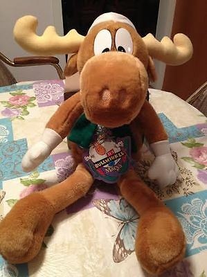"""1996 Bullwinkle Macy's 24"""" Stuffed Christmas Moose Doll & Rocky Collectible Nwt"""