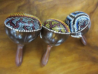 1x Sweet Coconut Aboriginal Style Dot Painting Maraca Approx 23cm in Length