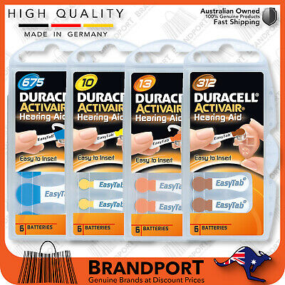 30-60 DURACELL Activair HEARING AID batteries sizes 10, 13, 312 or 675 LONG LIFE