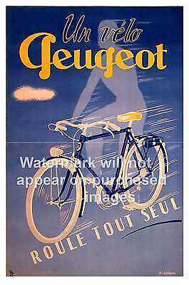 Un velo Peugeot ,vintage cycling Poster, Wall art, Reproduction.