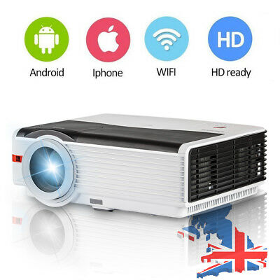 Full HD LED LCD Projector With Android Wifi Home Theater USB VGA AV 5000 Lumens