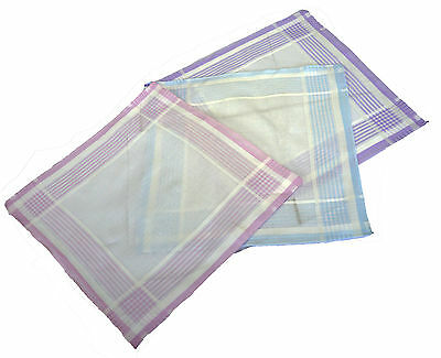 Passionelle® Ladies White 100% Cotton Handkerchiefs With Stripes Boxed 3 Pack