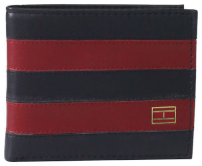 New Mens Tommy Hilfiger  Leather Wallet Bifold 31tl22x040 Navy/burgundy