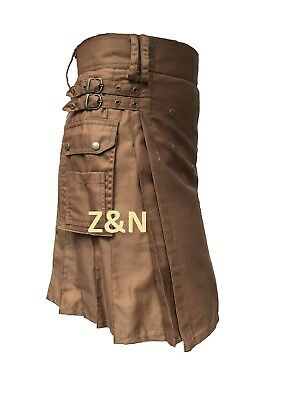 "Men's Brand New Khaki ""Beige"" 100% Cotton Utility Kilt"