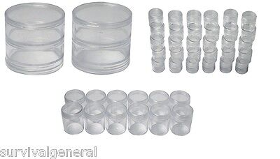 Lot 46 Pc Storage Container Set Plastic Round Screw Top Seeds Survival Pill BOB