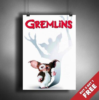 GREMLINS Poster A3 / A4 Classic Fantastic Horror Movie Art Print Home Decoration