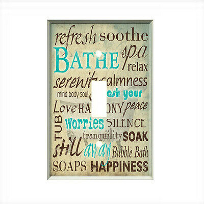 Bathroom Words Light Switch Plate Wall Cover Room Decor Relax